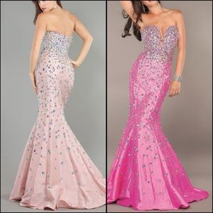 Jovani Strapless Fuchsia Mermaid Prom Dress